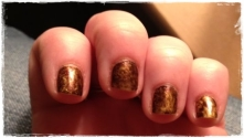 Glittery Gold with Amber saran wrap marble
