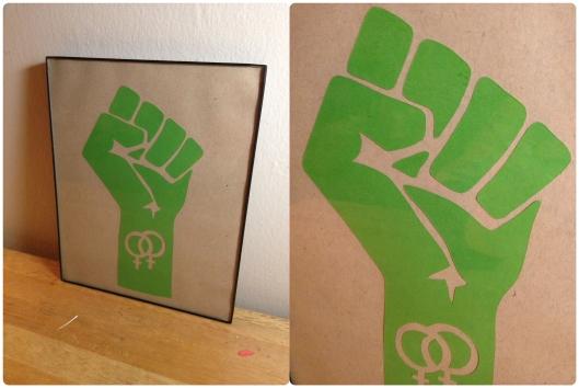 Lesbian solidarity! On sale here: https://www.etsy.com/listing/168426046/lesbian-solidarity-fist-original-cut